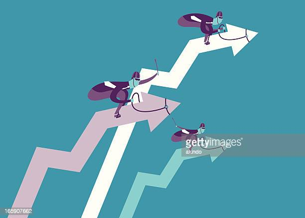 up race concept - three people stock illustrations