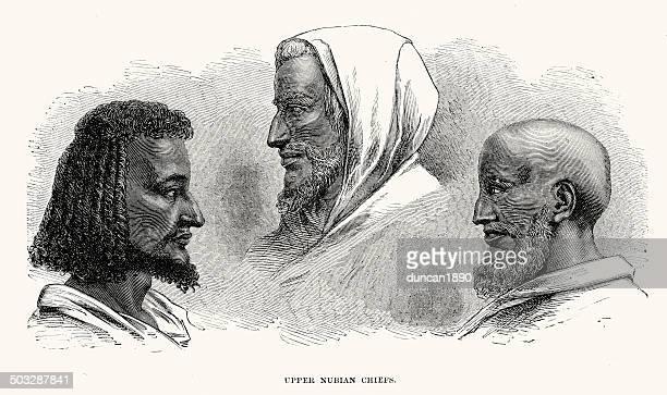 upper nubian chiefs - nubia stock illustrations, clip art, cartoons, & icons