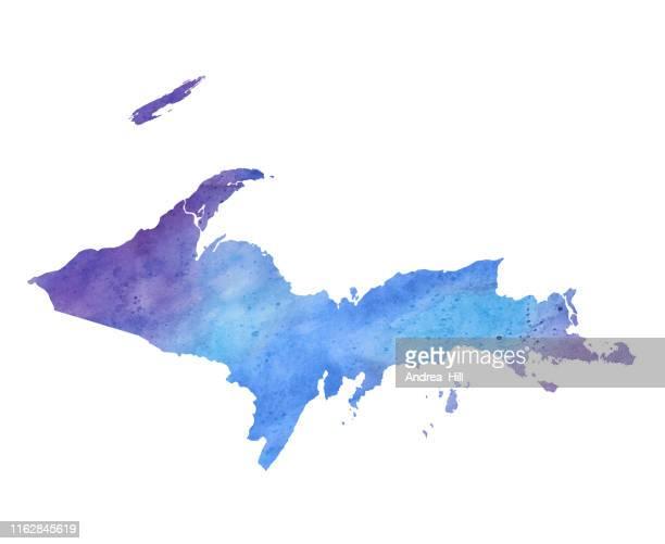 upper peninsula, michigan watercolor raster map illustration - upper peninsula stock illustrations