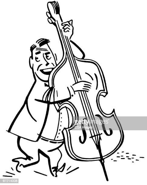 upright bass - double bass stock illustrations, clip art, cartoons, & icons