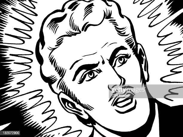 Upset Blonde Man With Mustache