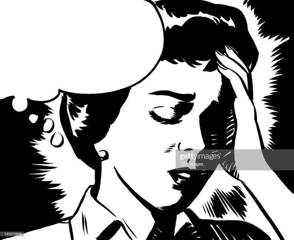Mujer molesto con burbuja de globos : Ilustración de stock