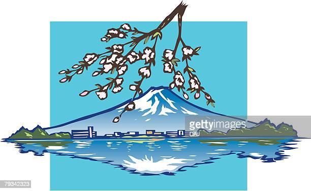ilustraciones, imágenes clip art, dibujos animados e iconos de stock de upside down of mountain fuji, woodcut, yamanashi prefecture, japan - mt. fuji