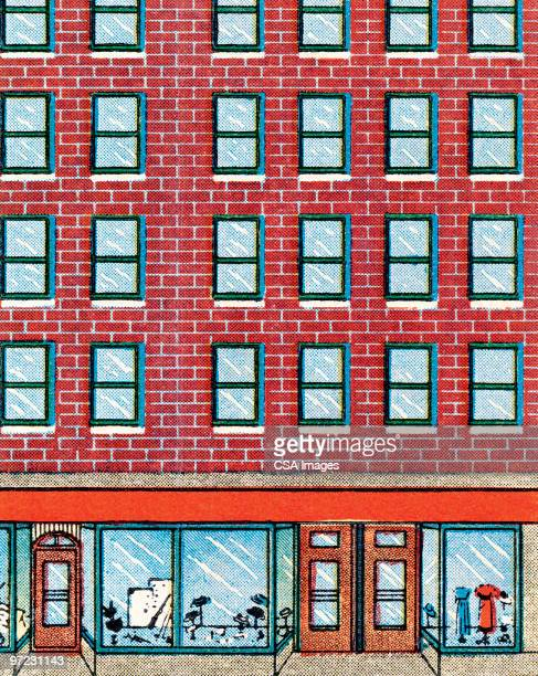 urban building - consumerism stock illustrations