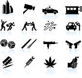 Urban crime and vice black & white vector icon set
