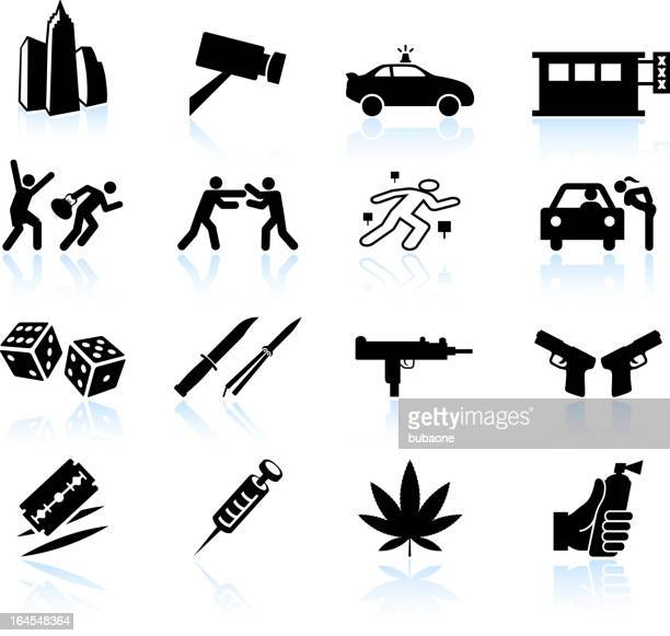 urban crime and vice black & white vector icon set - submachine gun stock illustrations, clip art, cartoons, & icons