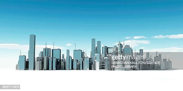 illustrazioni stock, clip art, cartoni animati e icone di tendenza di urban skyline, illustration - grattacielo