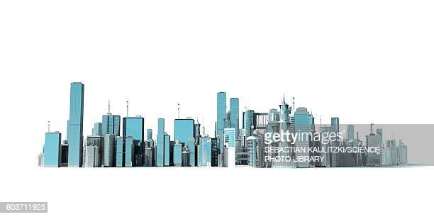 urban skyline, illustration - artistic product stock illustrations