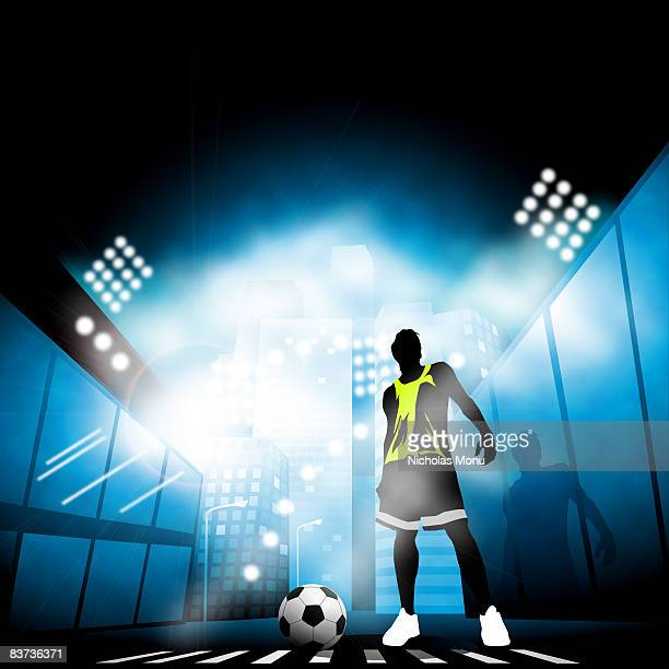 urban soccer - zebra crossing stock illustrations