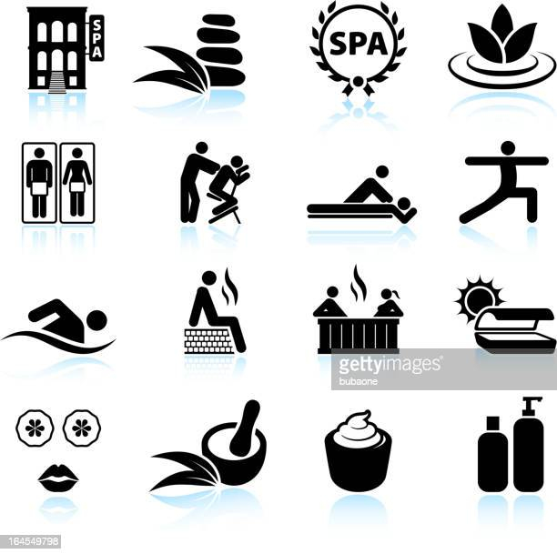Urban spa and relaxation black & white vector icon set