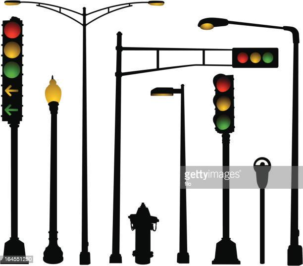 urban street elements - stoplight stock illustrations