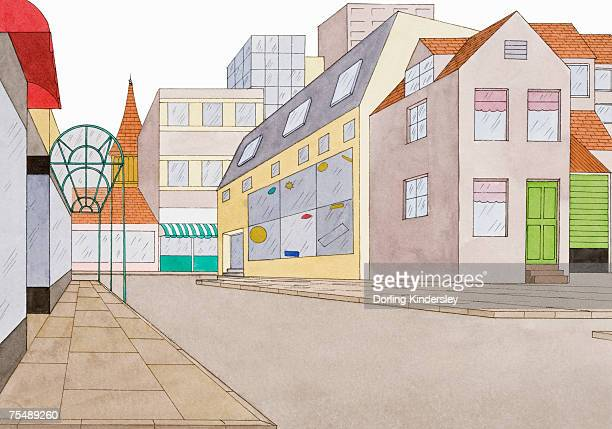 Urban street scene including colourful and diverse architectural detail, low angle view