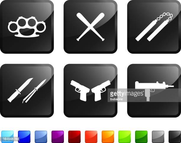 ilustraciones, imágenes clip art, dibujos animados e iconos de stock de urban armas sin royalties de vector icon set pegatinas - submachine gun