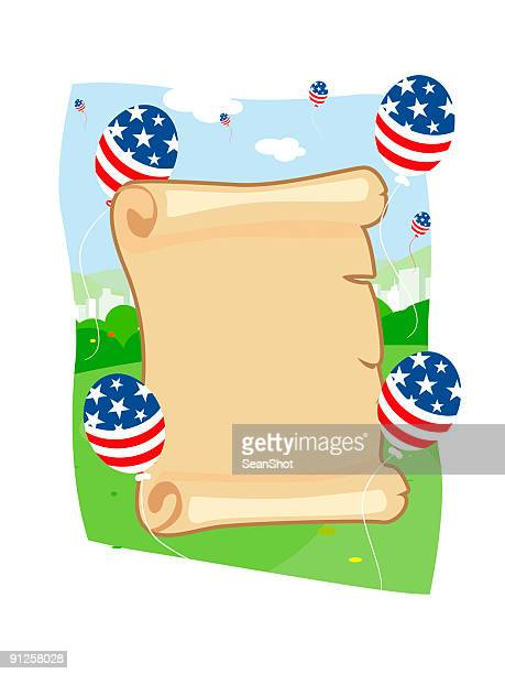 us constitution surrounded by patriotic balloons - bill of rights stock illustrations