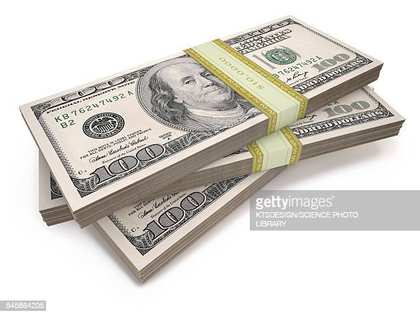 Us dollar bills, illustration