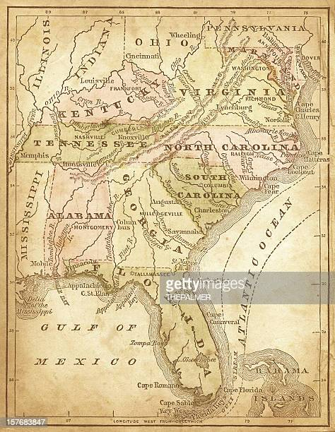 usa - southern states 1870 - southern usa stock illustrations, clip art, cartoons, & icons
