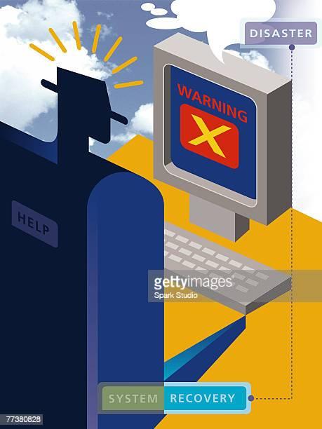 illustrations, cliparts, dessins animés et icônes de a user attempting to recover a crashed computer system - catastrophe aérienne