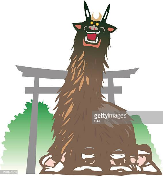 ushioni, woodcut, ehime prefecture, japan - shikoku stock illustrations, clip art, cartoons, & icons