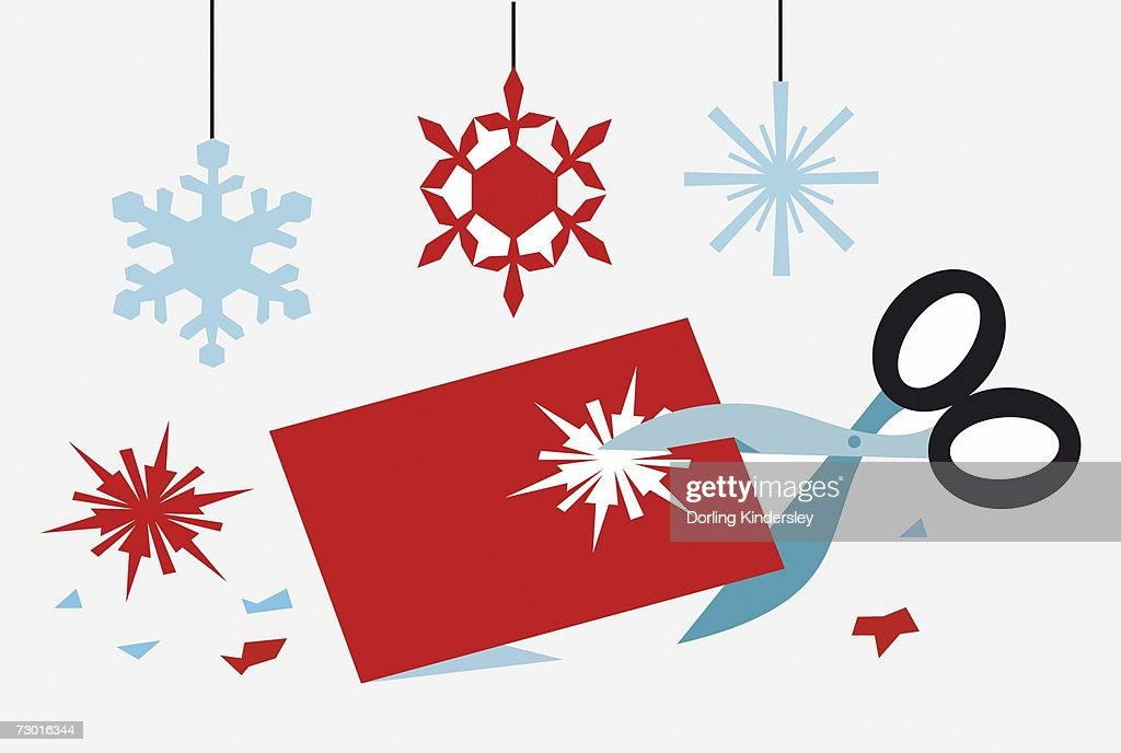 using scissors to cut out snowflake shapes for christmas decorations stock illustration