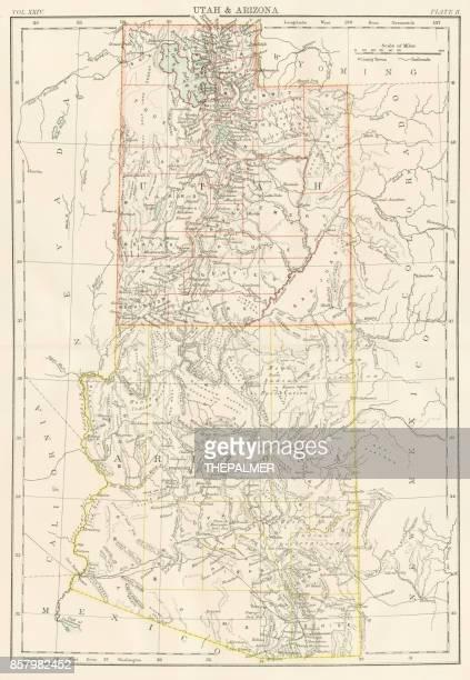 Utah Arizona Map 1885 Stock Illustration | Getty Images