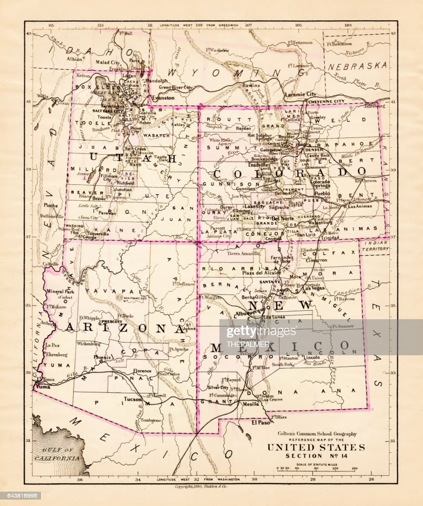 Utah Arizona New Mexico Colorado Map 1881 Stock Illustration | Getty ...
