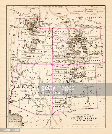 Utah Arizona New Mexico Colorado Map 1881 High-Res Vector ...