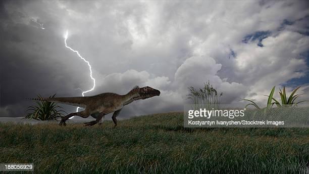 Utahraptor running across an open field during a lightning storm.