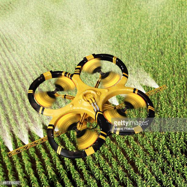 utility drone over corn field - automated stock illustrations