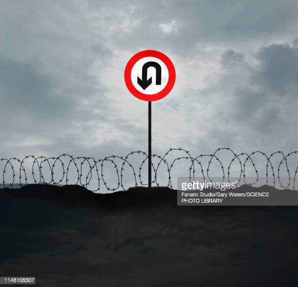 u-turn sign at border, illustration - message stock illustrations