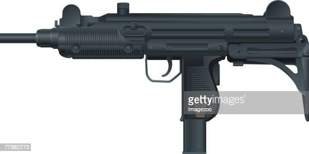 ilustraciones, imágenes clip art, dibujos animados e iconos de stock de uzi submachine gun - submachine gun