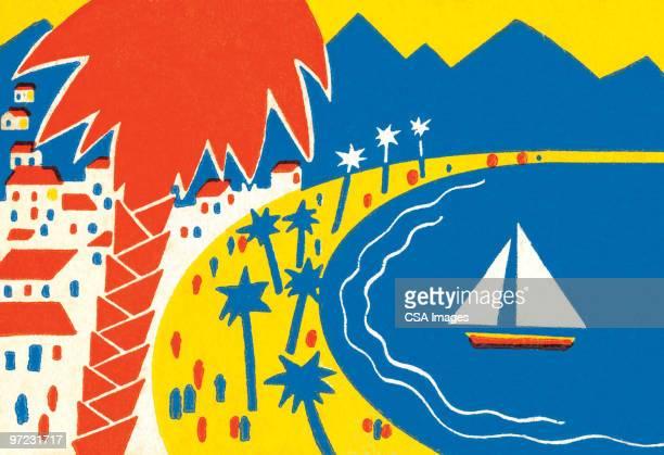 vacation scene - image stock illustrations