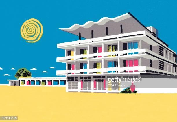 vacation scene - tourist resort stock illustrations, clip art, cartoons, & icons