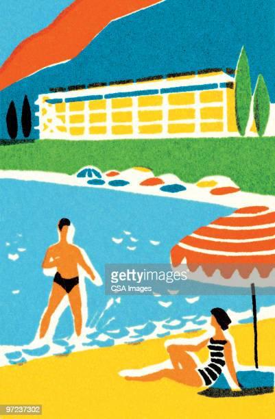 vacation scene - honeymoon stock illustrations, clip art, cartoons, & icons
