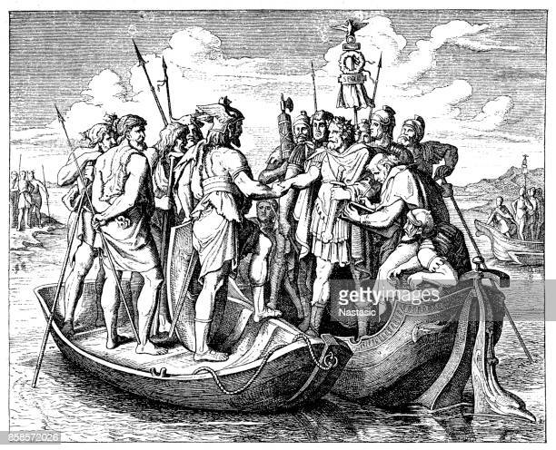 valens and athanaric in the year 369 on the danube - balkans stock illustrations, clip art, cartoons, & icons