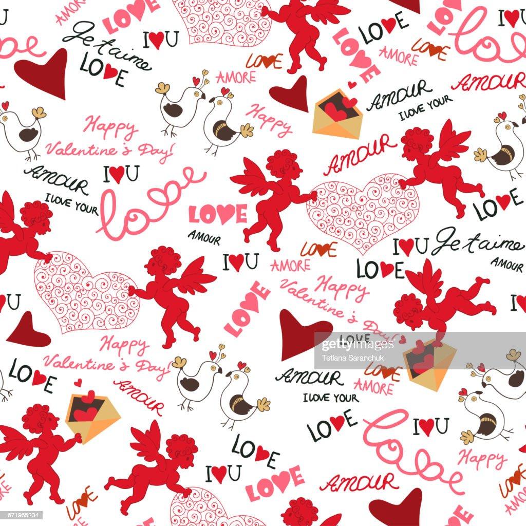 Valentinstag Wallpaper Nahtlose Liebe Romantische Stock Illustration