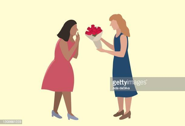 バレンタインデーとフラットデザインの1人のイメージ - レズビアン点のイラスト素材/クリップアート素材/マンガ素材/アイコン素材