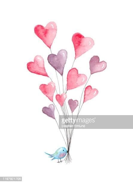 valentine's day heart balloons with blue bird - original watercolor painting - animal body part stock illustrations