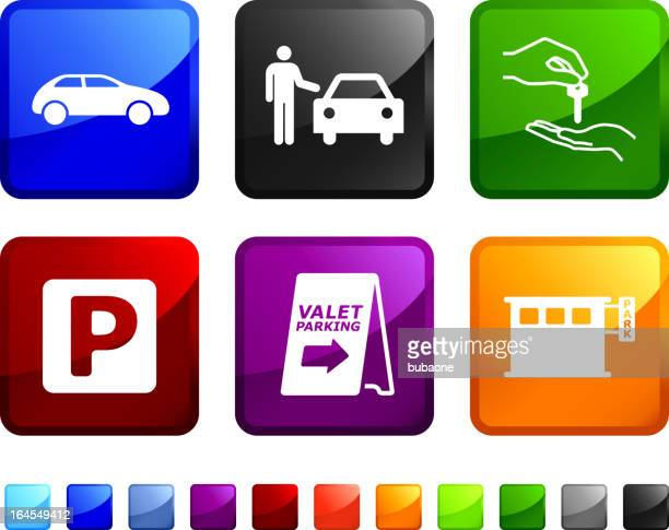 valet parking royalty free vector icon set stickers