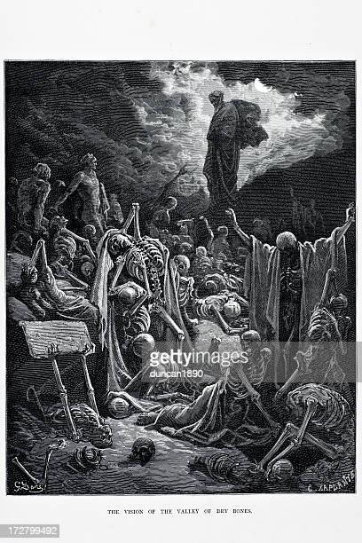 valley of dry bones - gustave dore stock illustrations, clip art, cartoons, & icons