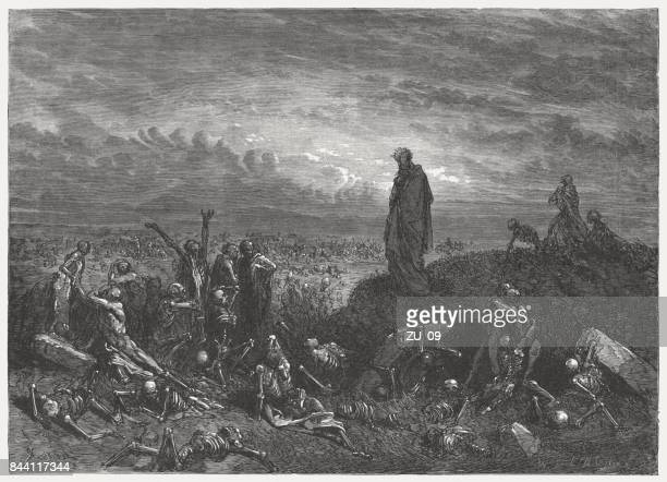 valley of dry bones (ezekiel 37), wood engraving, published 1886 - gustave dore stock illustrations, clip art, cartoons, & icons