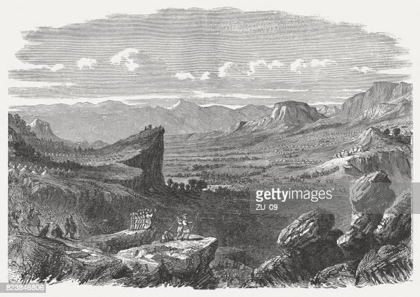 ilustraciones, imágenes clip art, dibujos animados e iconos de stock de valle de elah (1 samuel 17, 2), publicado en 1886 - valle