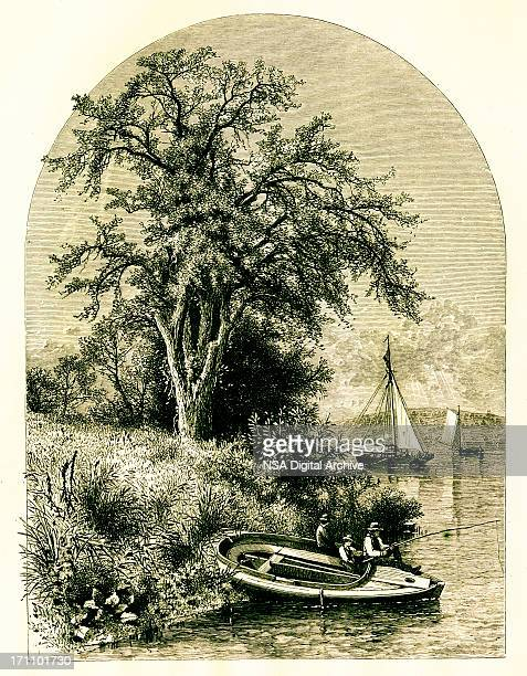 valley of the connecticut river, usa | historic american illustrations - connecticut river stock illustrations, clip art, cartoons, & icons
