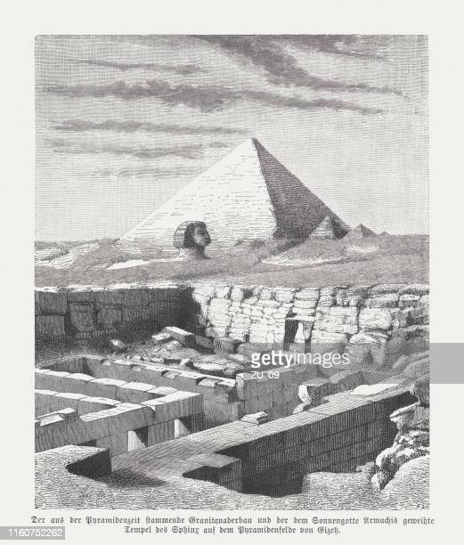 valley temple of chephren, and sphinx, giza, egypt, woodcut, 1879 - ancient egyptian culture stock illustrations