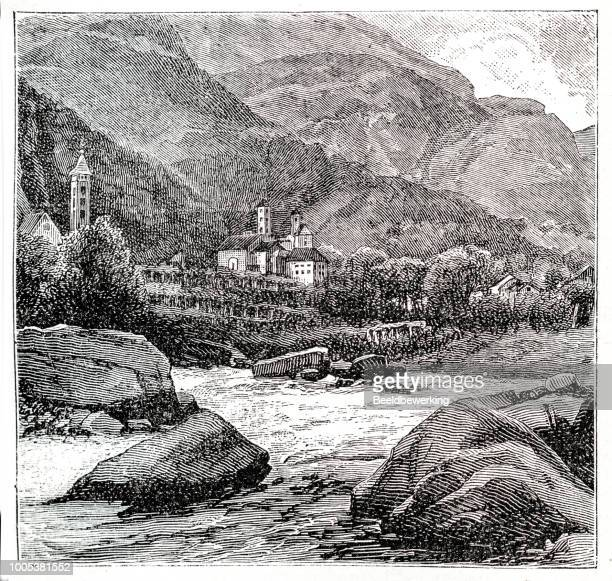 valley with rocks in fast flowing river - rapid stock illustrations