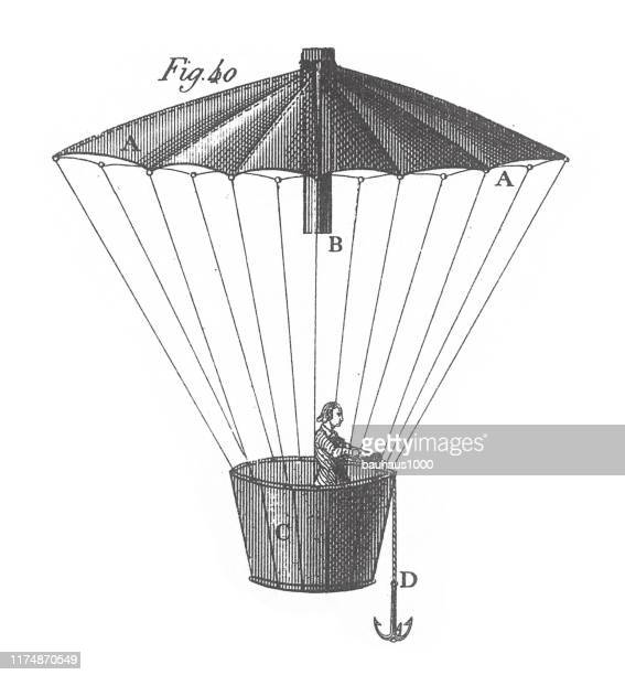 valve and parachute of the hampton balloon, illustrating theories of dynamics and other physical laws engraving antique illustration, published 1851 - air valve stock illustrations, clip art, cartoons, & icons