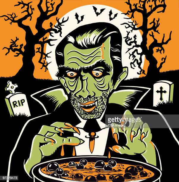 vampire at cauldron on halloween - count dracula stock illustrations, clip art, cartoons, & icons