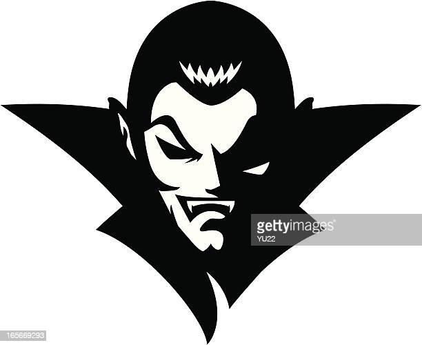vampire head mascot b&w - vampire stock illustrations, clip art, cartoons, & icons