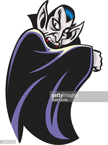 a vampire holding up his cape - count dracula stock illustrations, clip art, cartoons, & icons