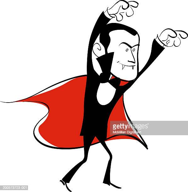 vampire with arms raised - count dracula stock illustrations, clip art, cartoons, & icons