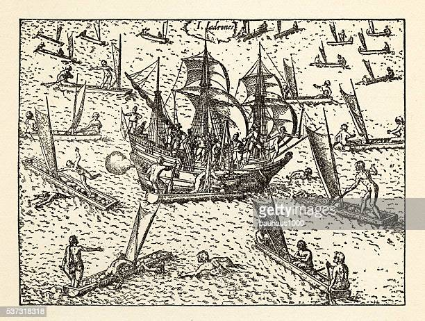 Van Noort Attacked by Theives on the Marianne Islands, 1600